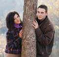Young couple in autumn Stock Images
