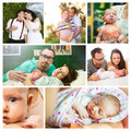 Young couple and baby composition of life of a arrival of their girl Royalty Free Stock Photography