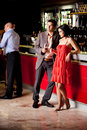 Young couple in bar having fun Royalty Free Stock Photo