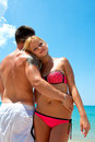 Young couple in the beach close up of a loving on Royalty Free Stock Photography