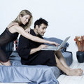 stock image of  Young couple in a bed