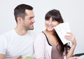 Young couple buying travel tickets online Royalty Free Stock Photo