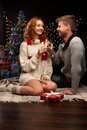 Young couple celebrating christmas Royalty Free Stock Photo