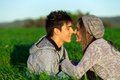 Young couple in countryside showing affection. Stock Image