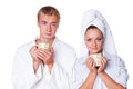 Young couple with cup of tea Royalty Free Stock Photography