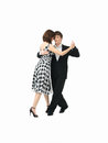 Young couple dancing the tango, white background Royalty Free Stock Photo