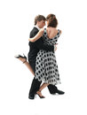 Young couple dancing the tango, white background Royalty Free Stock Image