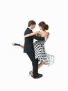 Young couple dancing the tango, white background Stock Image