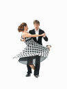Young couple dancing the tango, white background Royalty Free Stock Photos