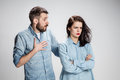 The young couple with different emotions during conflict Royalty Free Stock Photo