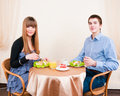 Young couple dining in restaurant Stock Photos