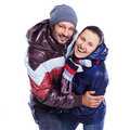 Young couple dressed in winter clothes Stock Photo