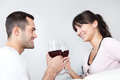Young couple drinking red wine Stock Image
