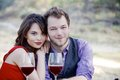 Young couple drinking wine a something are having while on a picnic in the park Stock Images