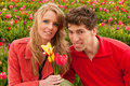 Young couple in Dutch flower fields Stock Images