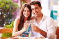 Young Couple Eating Meal Outdoors Together Royalty Free Stock Photo