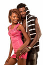 Young couple embracing african american the looking at the camera Stock Photos