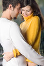 Young couple embracing, outdoors Royalty Free Stock Images