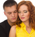 A young couple enjoying with closed eyes Royalty Free Stock Photos