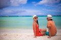 Young couple enjoying each other on a tropical beach this image has attached release Royalty Free Stock Photo