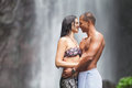 Couple at waterfall Royalty Free Stock Photo