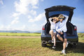 Young couple enjoying road trip and summer vacation Royalty Free Stock Photo