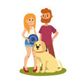 Young couple family resting summer happy lifestyle park outdoors together enjoying vacation and woman with adult man and Royalty Free Stock Photo