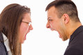 Young couple fighting and yelling on each other Royalty Free Stock Photo