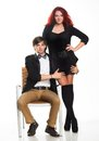 Young couple glamour vogue style portrait guy sensual looking Stock Image