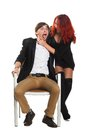 Young couple glamour vogue style portrait guy sensual looking Royalty Free Stock Photo