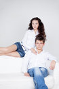 Young couple guy and happy girl Stock Photography