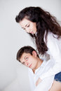 Young couple guy and happy girl Stock Images