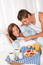 Young couple having breakfast together Royalty Free Stock Photography