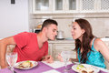 Young Couple Having Romantic Dinner at Home Royalty Free Stock Photo