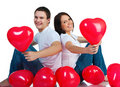 Young couple with a hearts Stock Photo