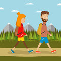 Young couple of hikers with backpacks walking along country road outdoors