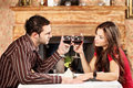 Young couple holding glasses wine cheers Royalty Free Stock Photography