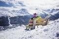 Young couple hugging ski resort winter mountains Royalty Free Stock Photo