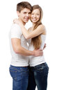 Young couple isolated on white background Royalty Free Stock Images