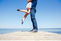 Young couple kissing on the beach Royalty Free Stock Photo