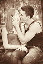 Young couple kissing each other Royalty Free Stock Photography