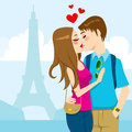 Young couple kissing passionately full love eiffel tower background paris Royalty Free Stock Photography
