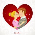 Young couple kissing on valentine card romantic Stock Photos