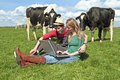 Young couple with laptop between the cows Royalty Free Stock Photo