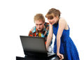 image photo : Young couple with laptop