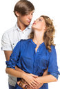 Young couple looking at each other beautiful over white background Royalty Free Stock Image