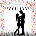 Young couple in love kissing heart rain man and woman valentine day background people under piano umbrella isolated vector on Stock Photos