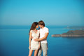 Young couple in love outdoor on the beach. Travel, vacation. Hap Royalty Free Stock Photo