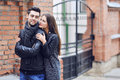 Young couple in love outdoor portrait outdoors Stock Image
