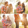 Young couple in love outdoor walking the autumn park holding hands looking the sunset Stock Image